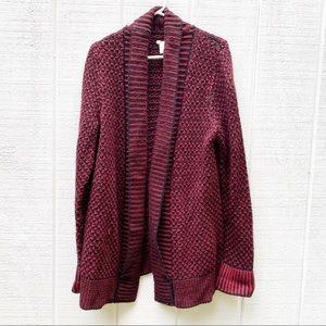 Marty M burgundy long knit cardigan large